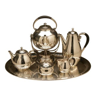 "Georg Jensen ""Cosmos"" Coffee and Tea Service on ""Cosmos"" Tray, No. 45"