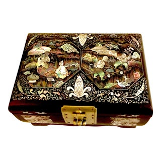 Vintage Chinese Mother of Pearl and Lacquer Jewelry Box