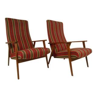 Scandinavian Modern High Back Lounge Chairs