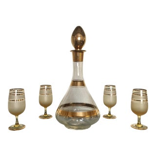 Mid-Century Decanter & Cordial Glasses - Set of 5