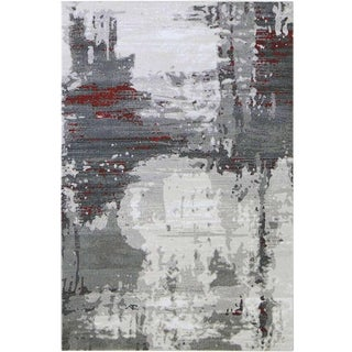 """Contemporary Gray & Red Abstract Rug - 6'7"""" x 9'7"""""""