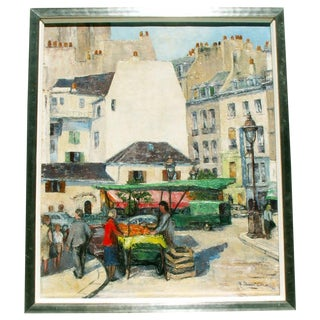 Paris Street Market, Oil Painting