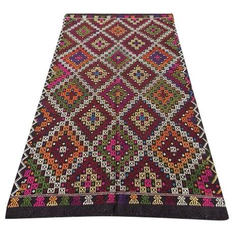 "Vintage Handwoven Turkish Kilim Rug - 5'4"" x 9'9"" - Image 1 of 6"