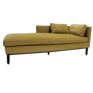 Custom Settee Lounge Chair or Chaise in the Manner of Dunbar with Brass Detail