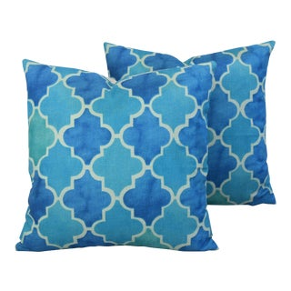 BoHo Chic Moroccan Tiles Linen Feather/Down Pillows - Pair