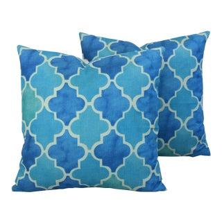 BoHo Chic Moroccan Tiles Linen Feather/Down Pillows - Pair