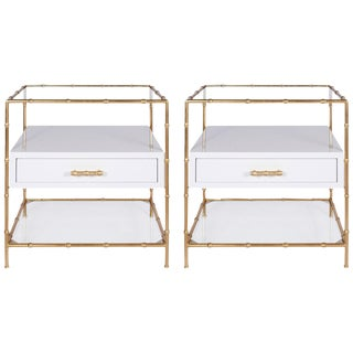White Lacquer & Gold Leaf Bamboo Side Tables - A Pair