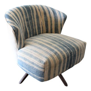 Mid-Century African Indigo Swivel Chair
