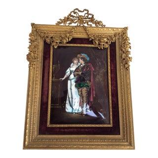 Antique Limoges Enamel Plaque in Bronze Frame