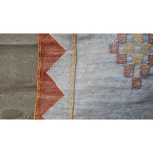 Blue & Rust Moroccan Silk Sabra Textile Area Rug