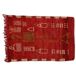 "Vintage Berber Moroccan Red Rug - 5'3"" x 7'8"""