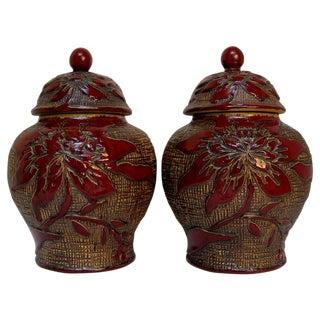 Burgundy Floral Glazed Ginger Jars - A Pair