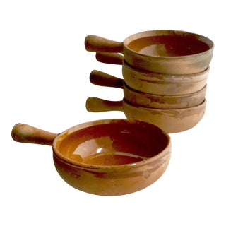 Antique France Terracotta Earthenware Handled Pots From Vallauris - Set of 5