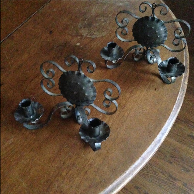 Spanish Revival-Style Candle Sconces- A Pair - Image 9 of 11