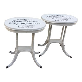 Vintage White End Tables - a Pair