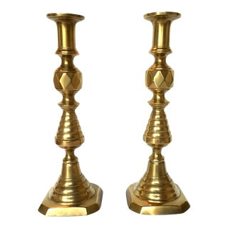 Georgian Brass Candle Holders - A Pair