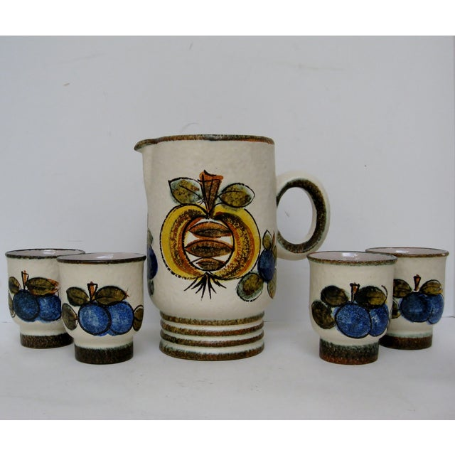 Vintage Hand Painted Italian Pitcher & Cup Set - Image 2 of 7