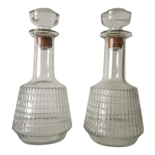 Mid-Century Cut Glass Decanter Bottles - Pair