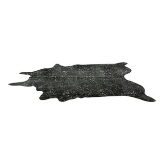 Genuine Brazilian Cowhide, Black + Silver Acid Wash