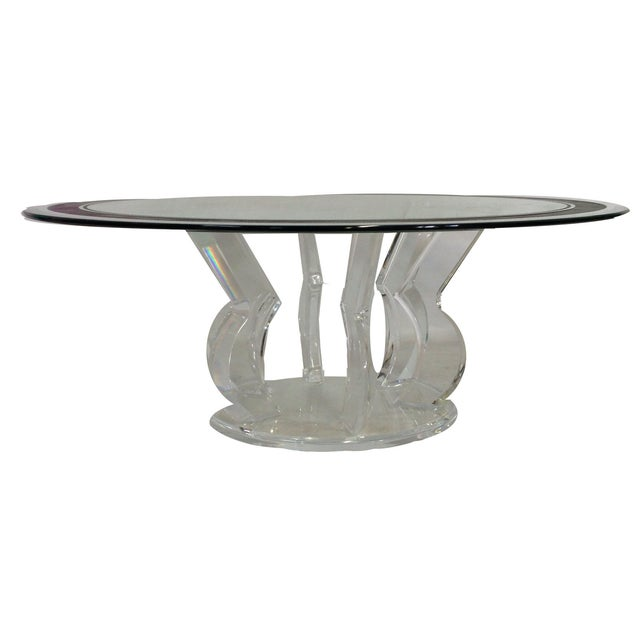 1990s Lucite Base & Glass Top Cocktail Table