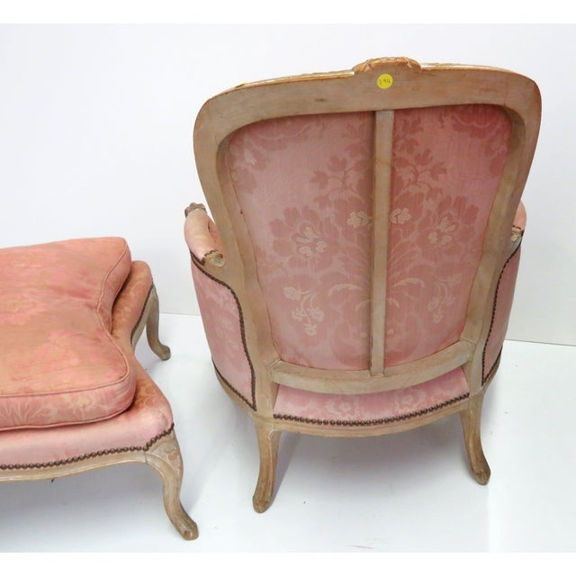 distressed painted louis xv style chaise ottoman chairish. Black Bedroom Furniture Sets. Home Design Ideas