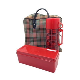 Vintage Red Plaid Aladdin Thermos Picnic Set