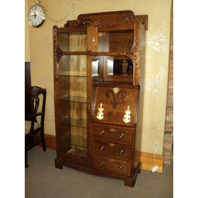 Antique Oak Display Cabinet - Image 2 of 7 - Antique Oak Display Cabinet Chairish
