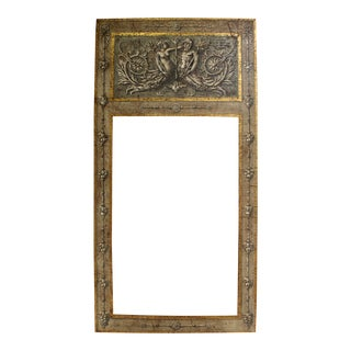 Large Antiqued Handpainted and Gilded Neoclassical Trumeau Mirror Frame in Gray