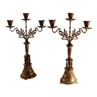 Art Nouveau Bronze Candelabras - A Pair