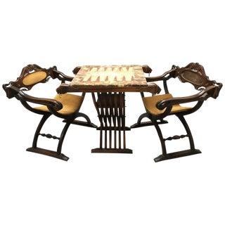 Onyx Backgammon Table & Savonarola Chairs