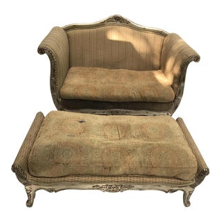 French Louis XV Style Loveseat and Ottoman
