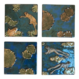 Global Views Frogs & Lily Pads Ceramic Wall Tiles - Set of 4