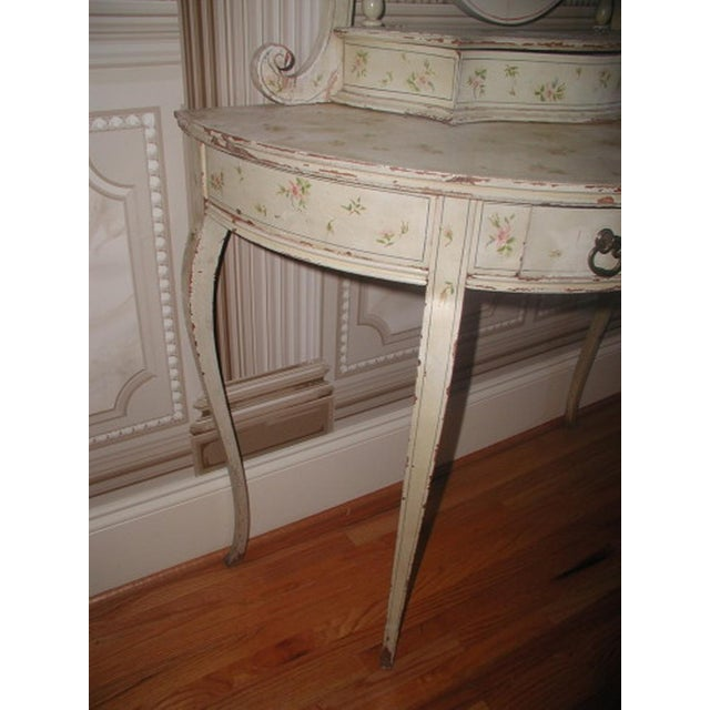 Flowered French Vanity With Mirror & Glove Box - Image 7 of 8