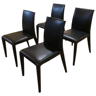 Set of Four Sexy Italian Black Leather Dining Side Chairs