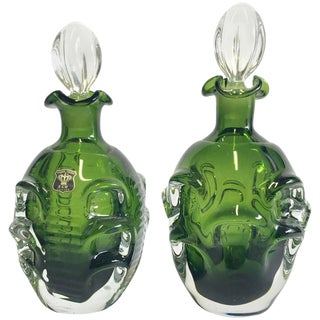 Mid-Century Modern Swedish Emerald Green Blown Glass Decanters - A Pair