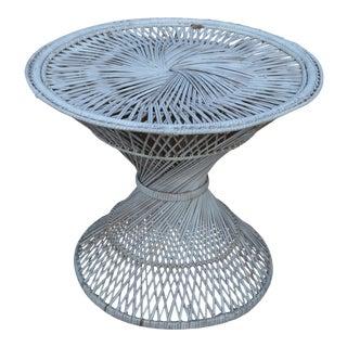 Vintage White Rattan Round Wicker Table