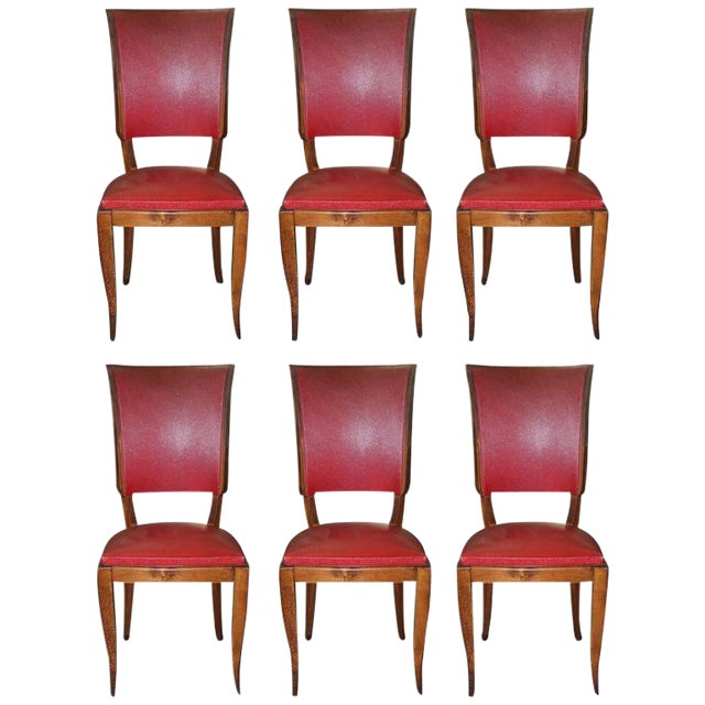 Set of Six French Art Deco Classic Solid Mahogany Dining Chairs, circa 1940s. - Image 1 of 10