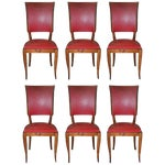 Image of Set of Six French Art Deco Classic Solid Mahogany Dining Chairs, circa 1940s.