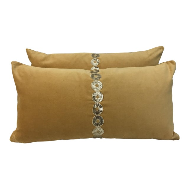 Gold Velvet & Down Feather Lumbar Pillows - a Pair - Image 1 of 3