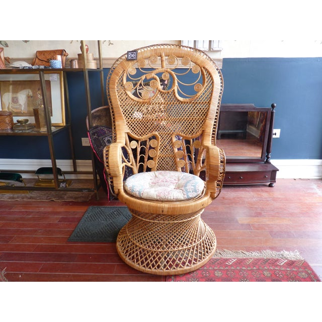 Curly Wicker Throne Chair - Image 2 of 9