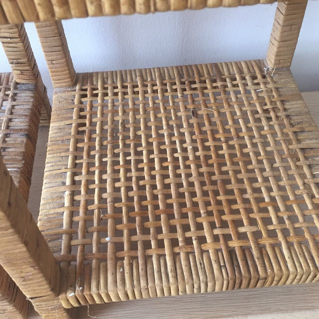 Island Woven Rattan End Tables - A Pair - Image 4 of 6