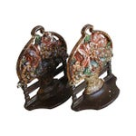 Image of Antique 1920s Cast Iron Floral Basket Bookends - A Pair