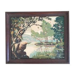 Vintage Lake Waterscape Painting