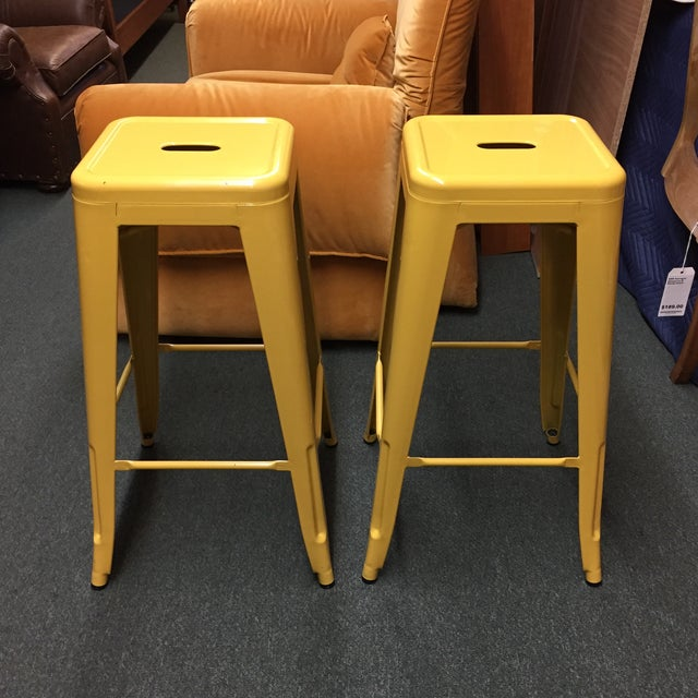 Image of Yellow Painted Metal Bar Stools - A Pair
