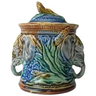 Majolica Elephant Tobacco Jar
