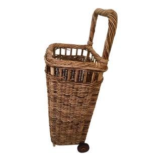 French Market Rolling Wicker Basket