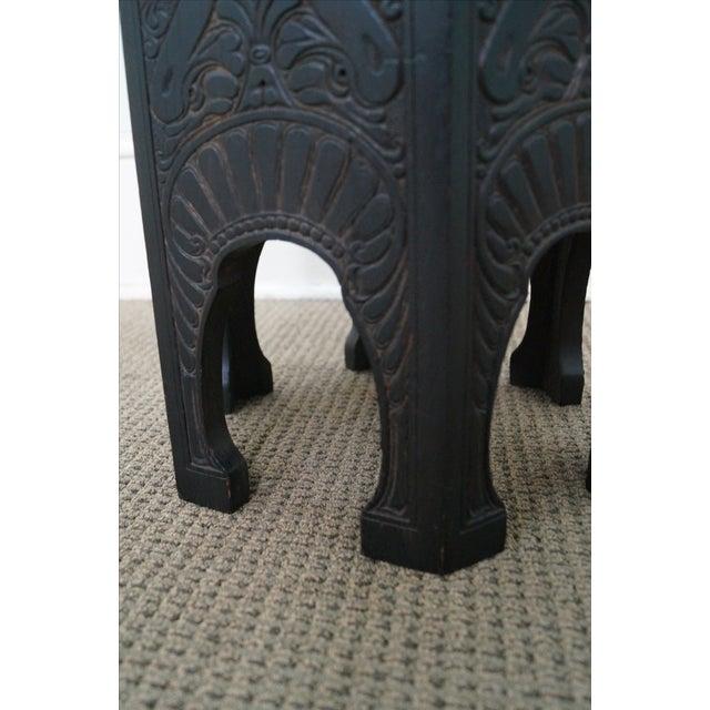 Antique Incised Carved Oak Taboret Side Table - Image 6 of 10