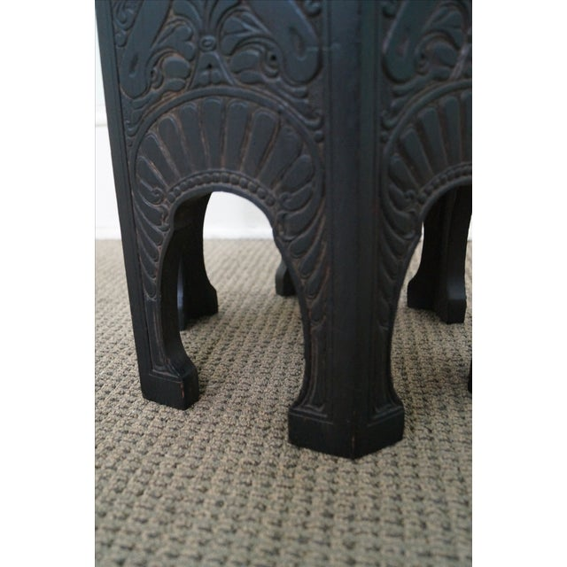 Image of Antique Incised Carved Oak Taboret Side Table