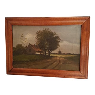 Antique Original Landscape Painting on Canvas Scene of Holland