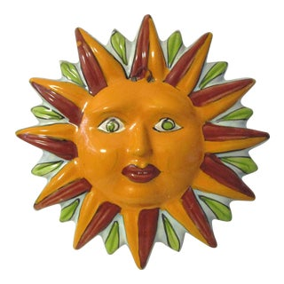 Mexican Hand-Painted Pottery Sun
